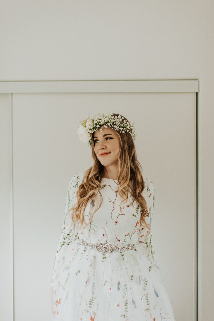 Bridal summer flower crown and flower gown