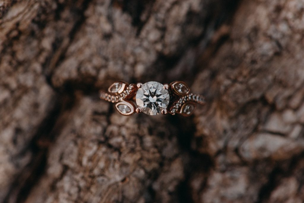 Engagement Ring Shot on Wood