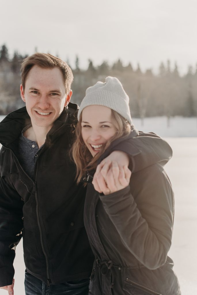 Skating engagement session at Hawrelak Park Edmonton Alberta