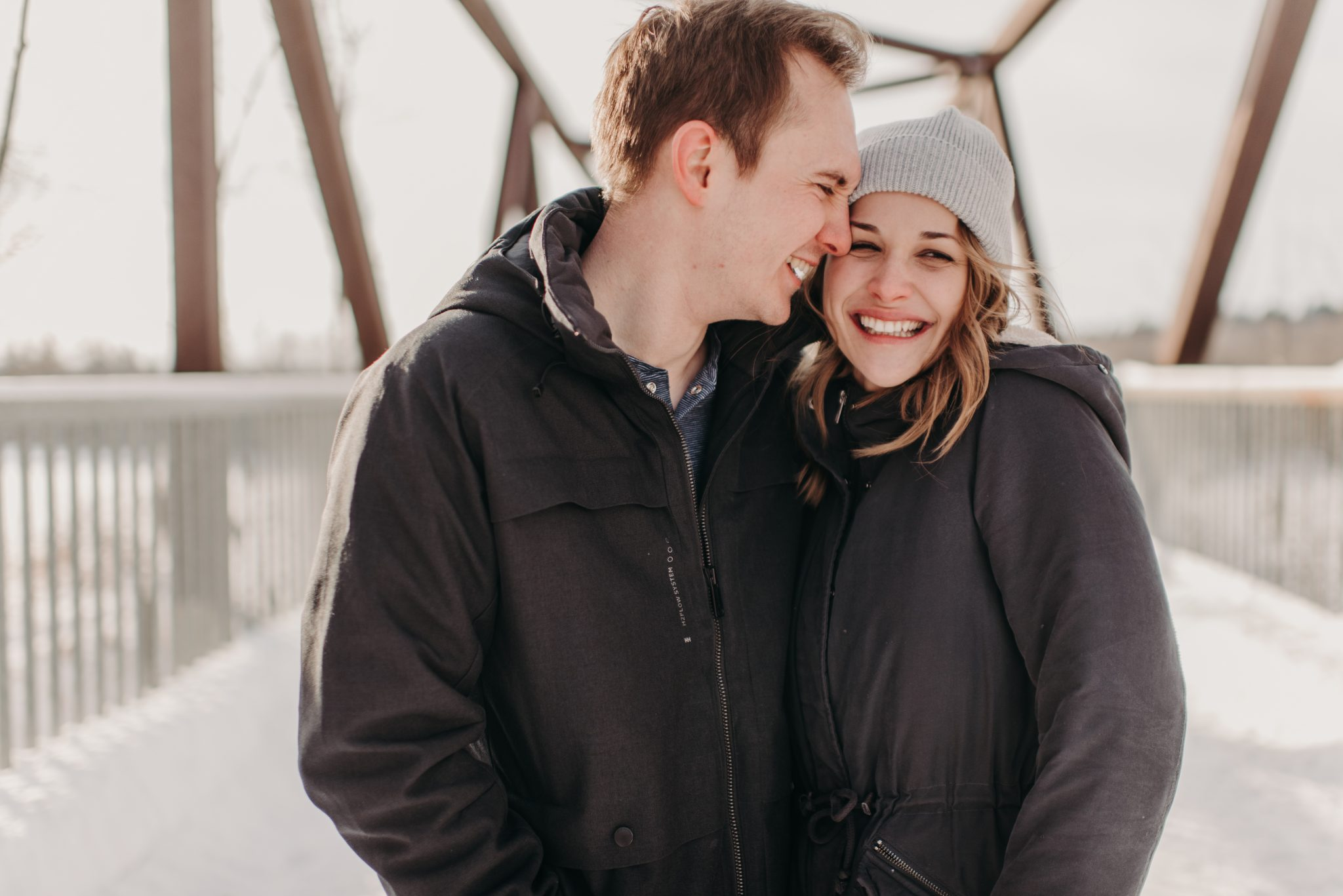 Edmonton engagement session on Hawrelak Park Bridge