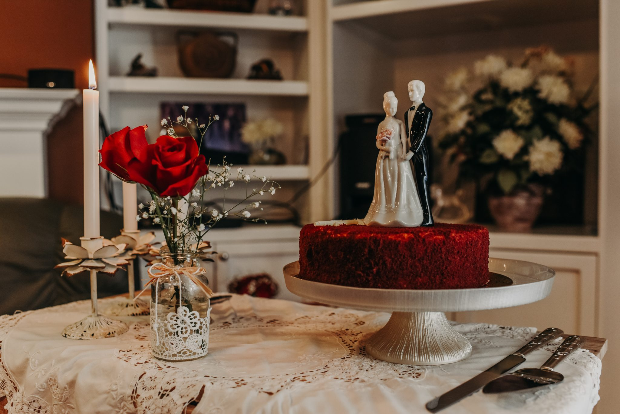 Intimate House wedding with red velvet cake in Edmonton