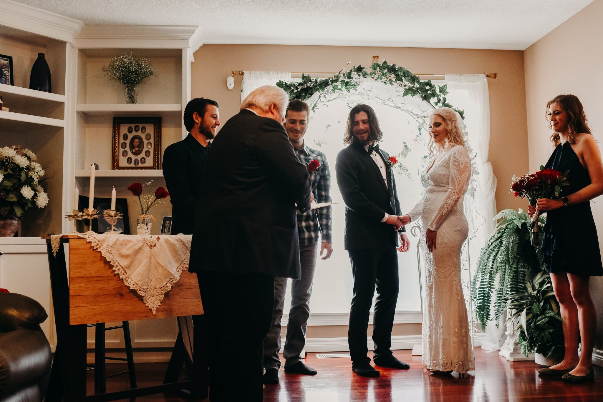 Intimate house wedding ceremony in St. Albert