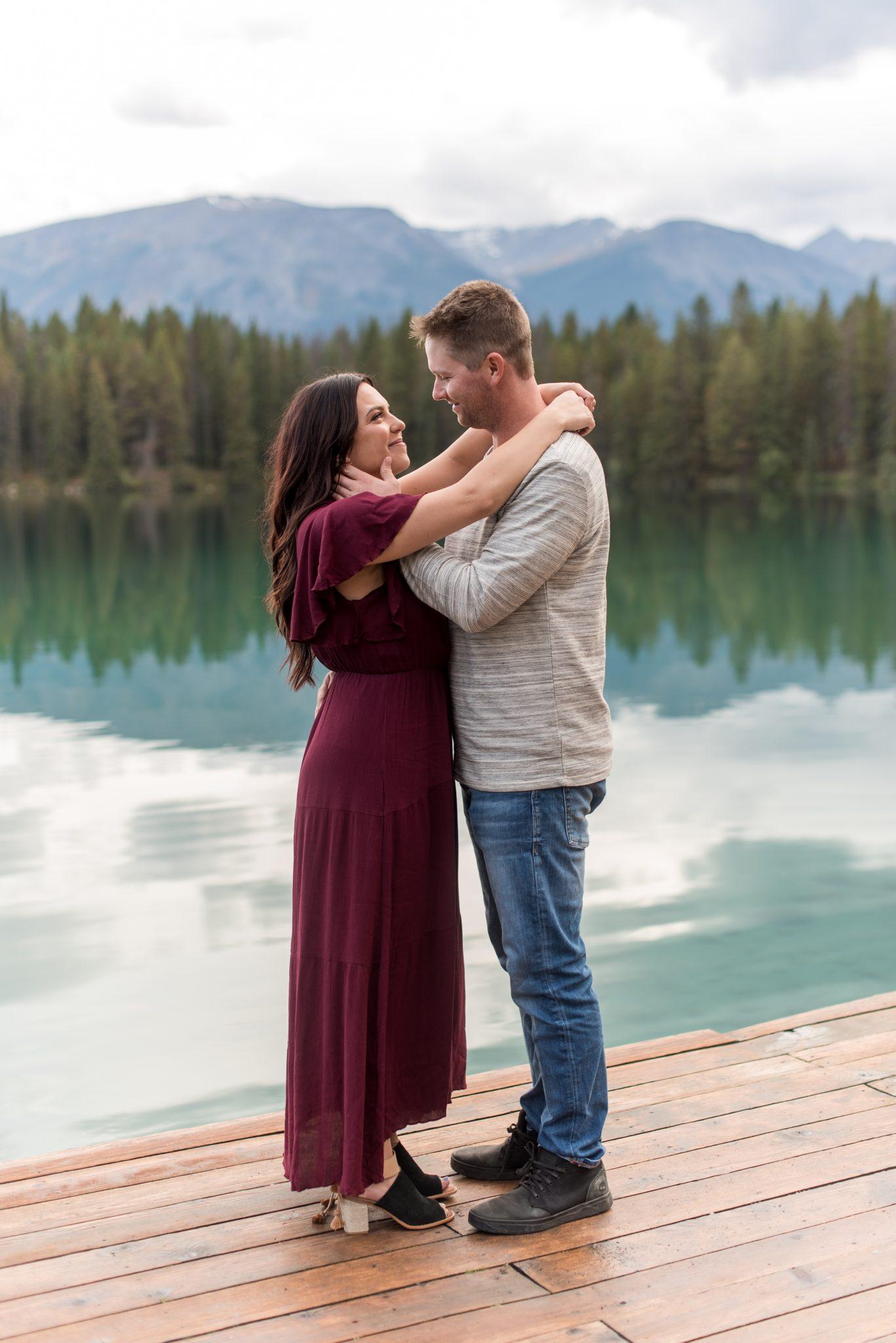 Engagement photos at Lake Annette in Jasper National Park