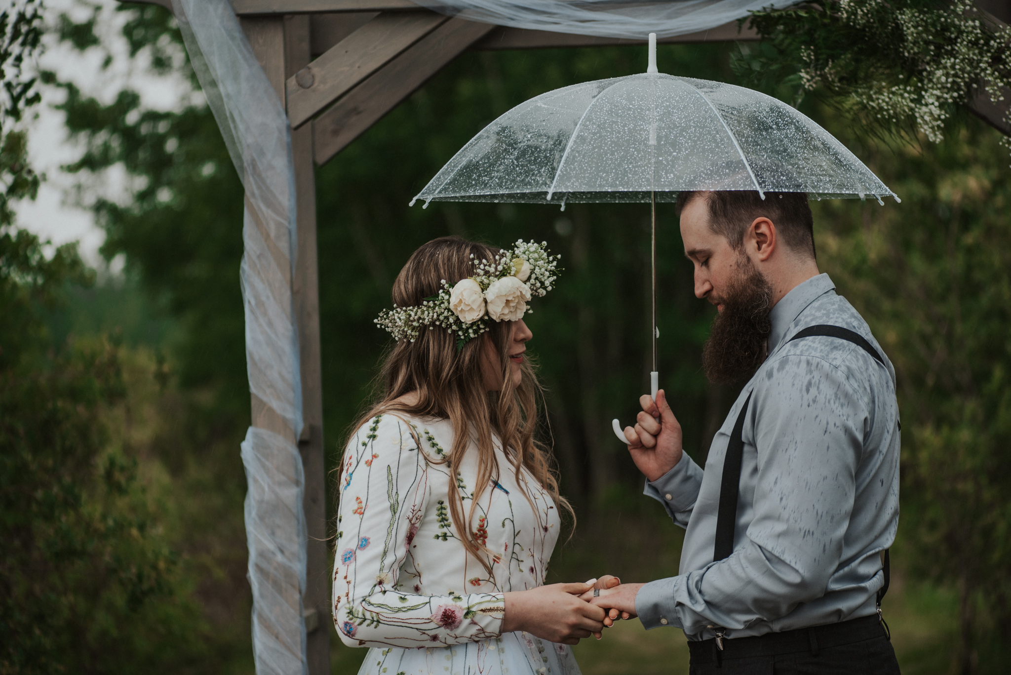 Rainy summer wedding ceremony