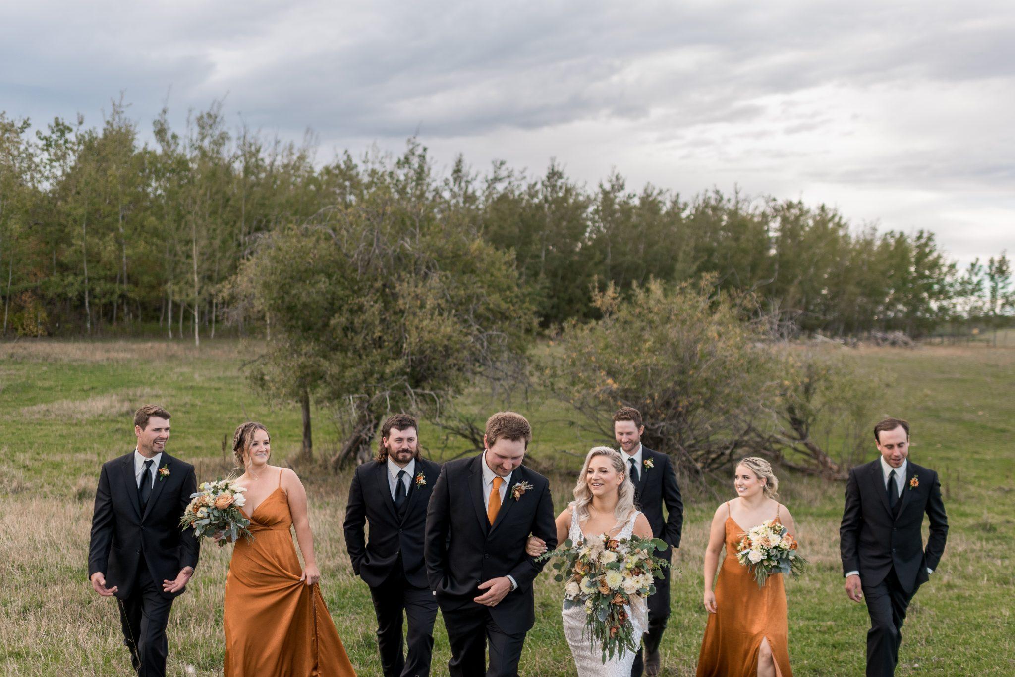 Wedding party wardrobe inspiration for a fall wedding