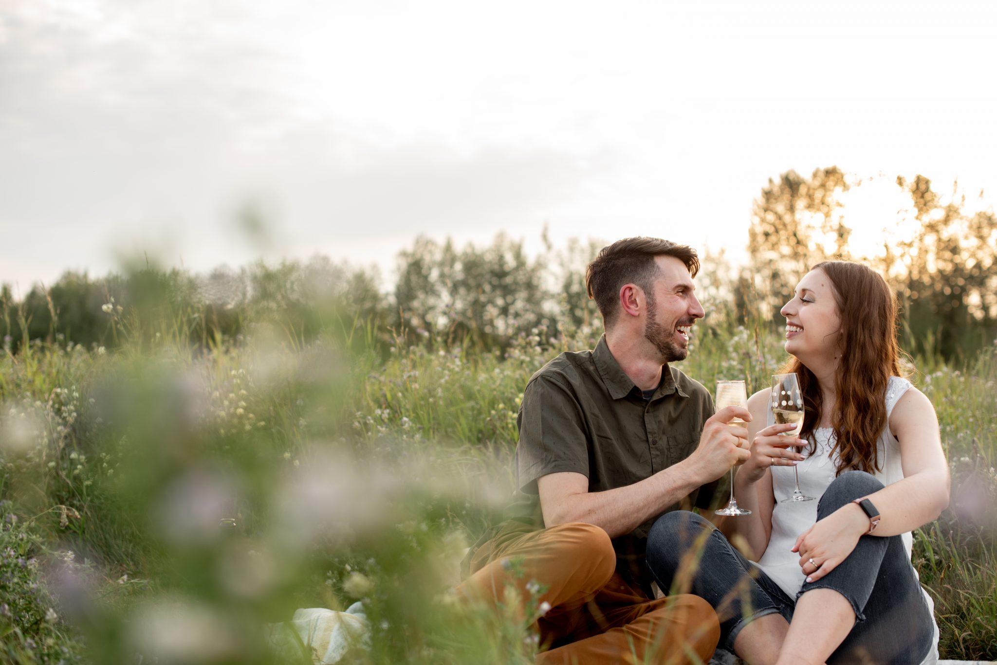 Romantic picnic session engagement photos