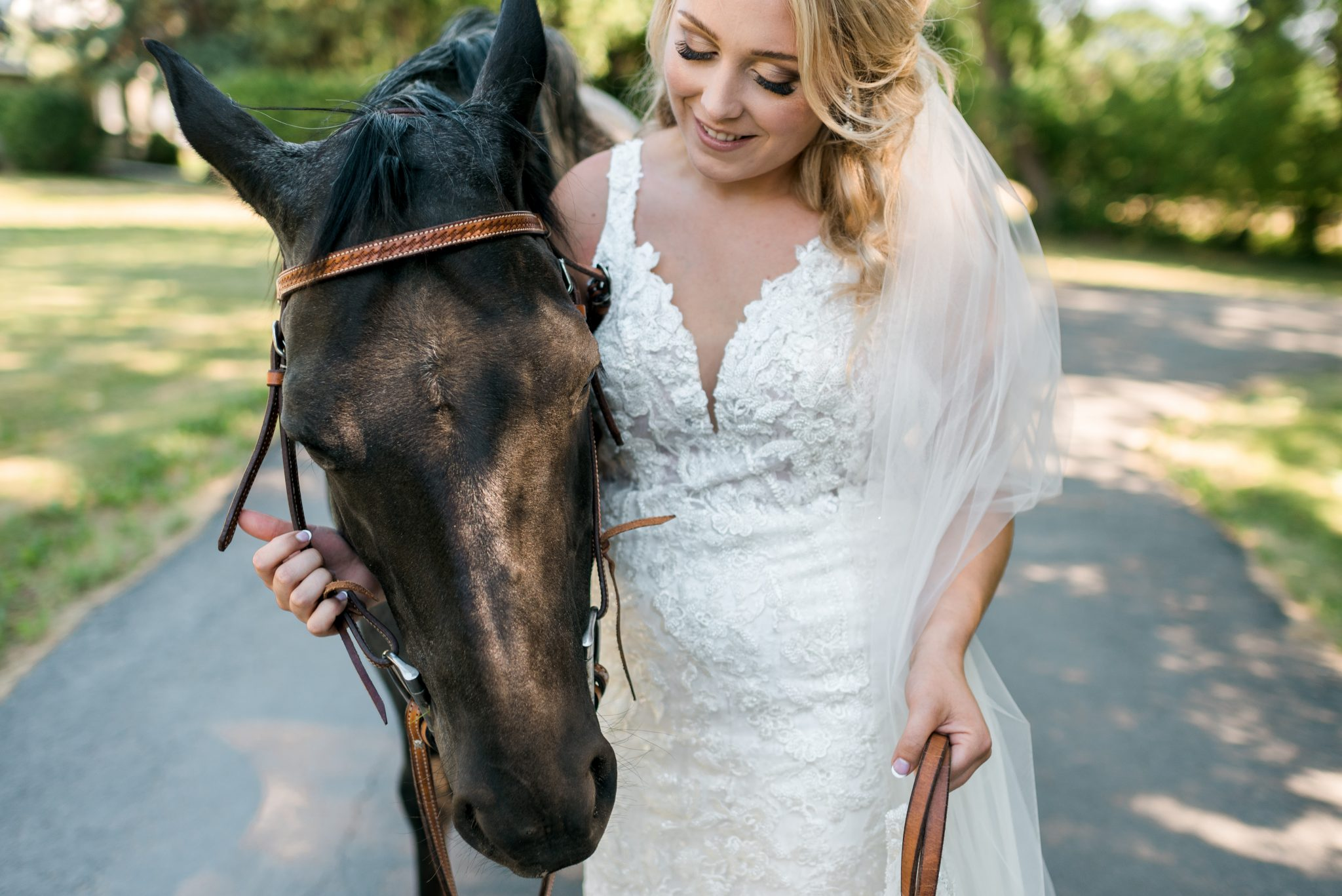 A Bride and Her Horse on Her Wedding Day