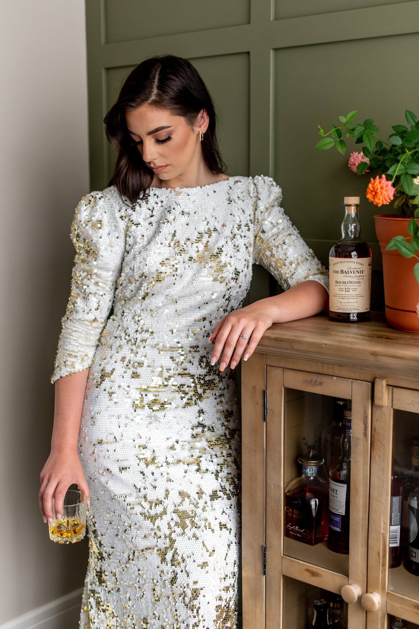 Daystar gown in Gold and White sequins by Abigail of Gardenia and Hair and Makeup by Sheena Rae Beauty