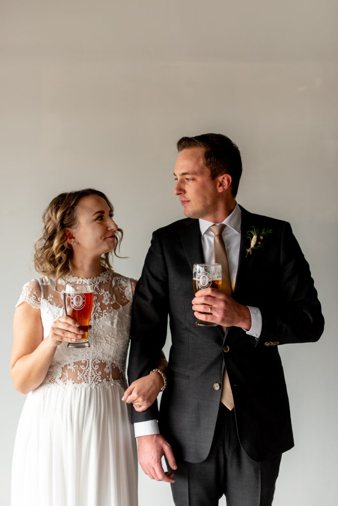 Bride and Groom at Endeavour Brewing Company in St. Alberta Alberta