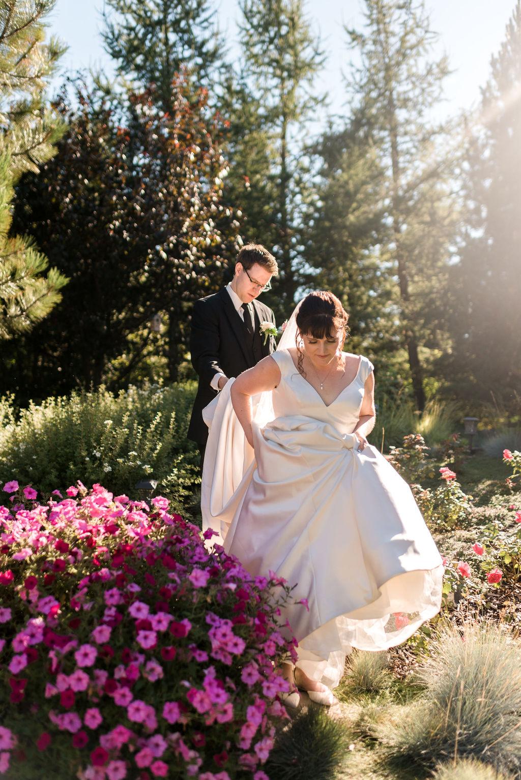 Garden Wedding, Wedding Dress, Petunias