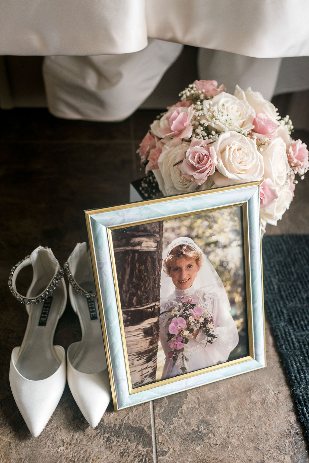Wedding Shoes, White and Pink Bouquet