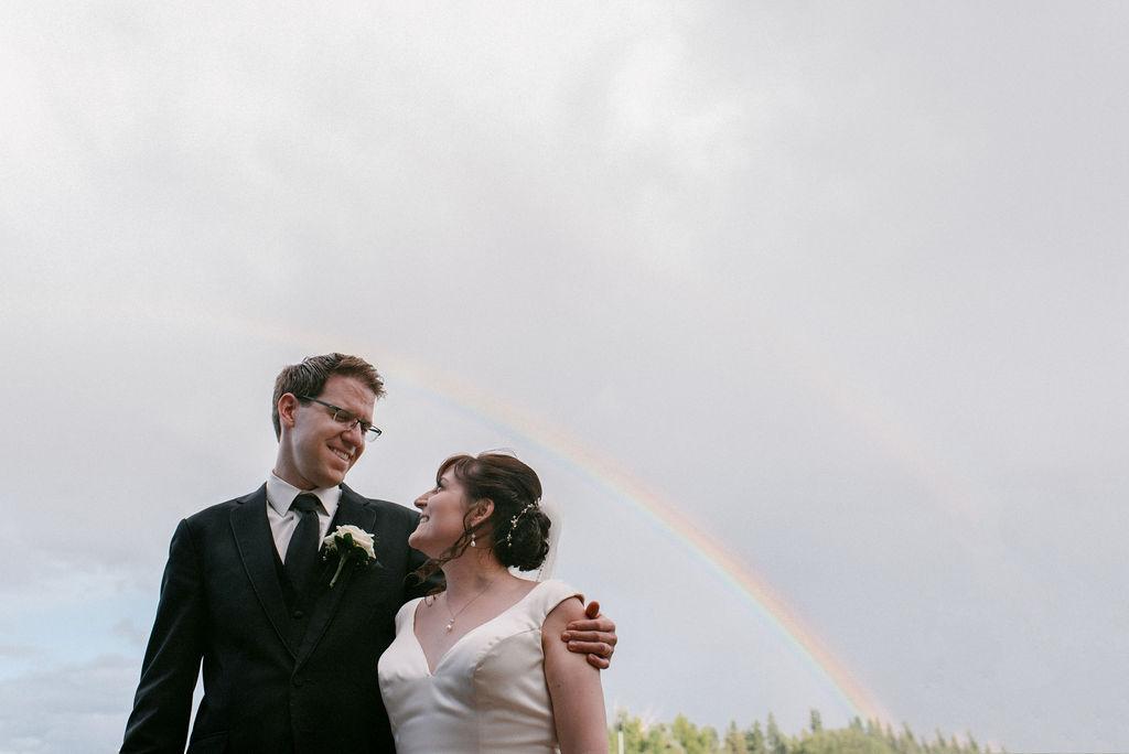 Rainbow, Double Rainbow, Bride and Groom with Rainbow