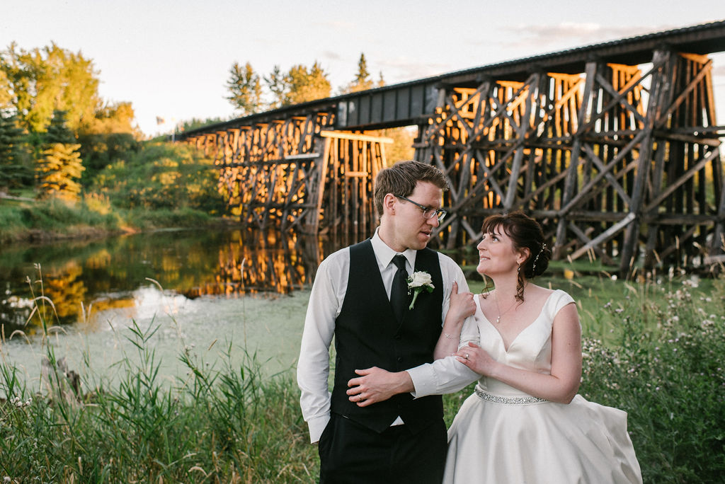 Train Trestle, Sunset, Bride and Groom