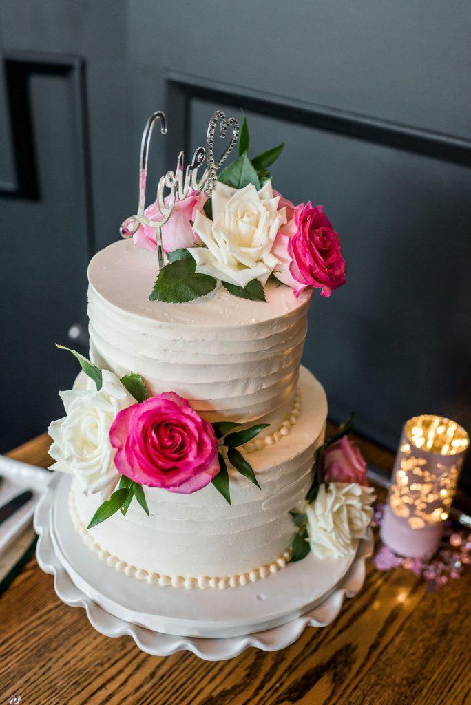Riverbank Bistro St. Albert, Wedding Cake, Roses on Cake, Pink and White Wedding Cake