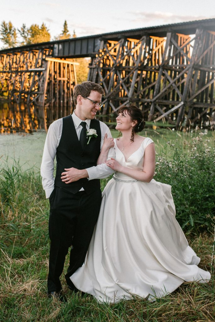 Bride and Groom at Sunset, Wedding Dress, Train Trestle