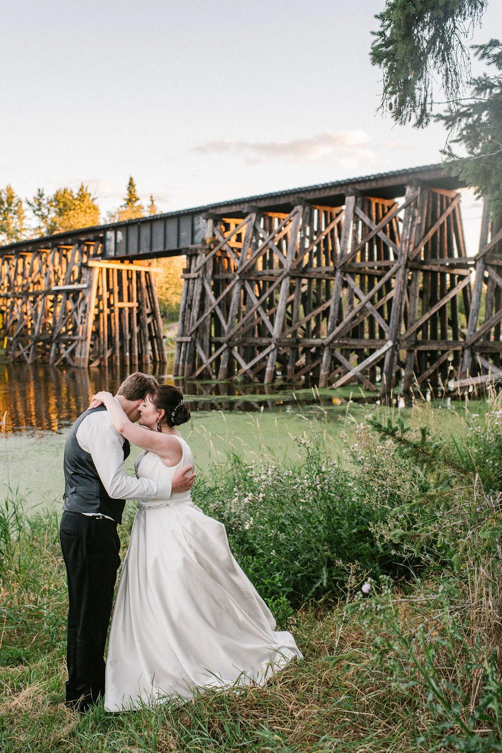 Sunset Wedding Photos, Bride and Groom