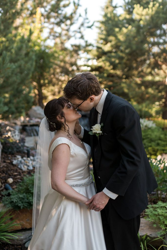Garden Wedding, Wedding Kiss, Bride and Groom
