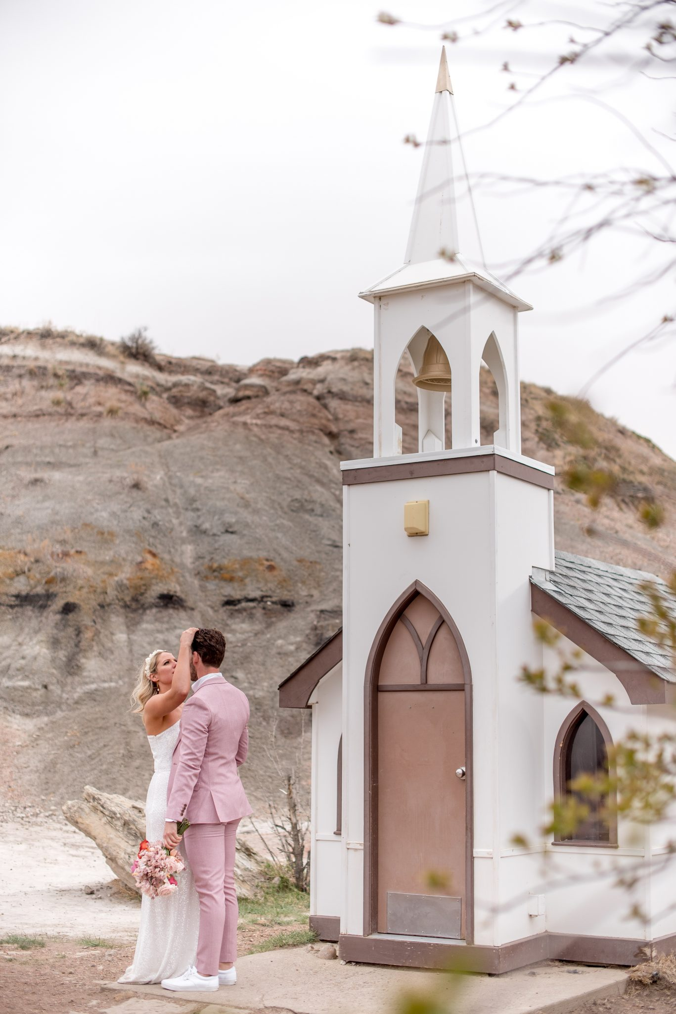 California elopement vibes with a little white church from Drumheller Alberta