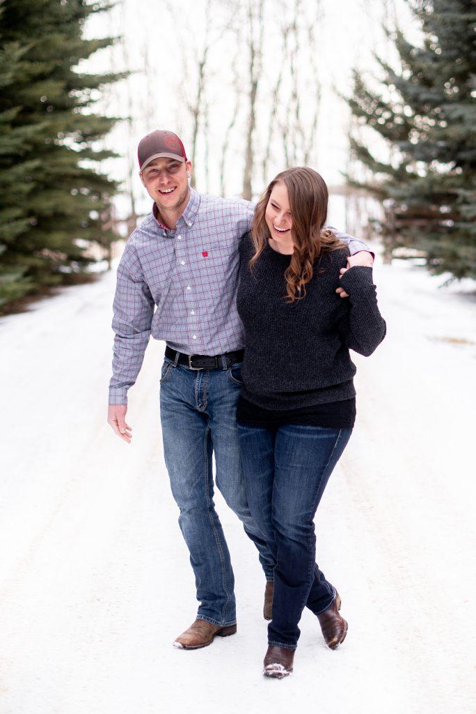 Rural winter proposal in Edmonton Alberta