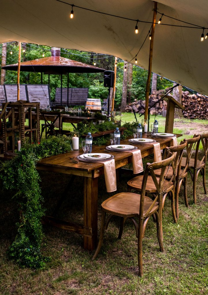 Outdoor wedding venue, white tent wedding