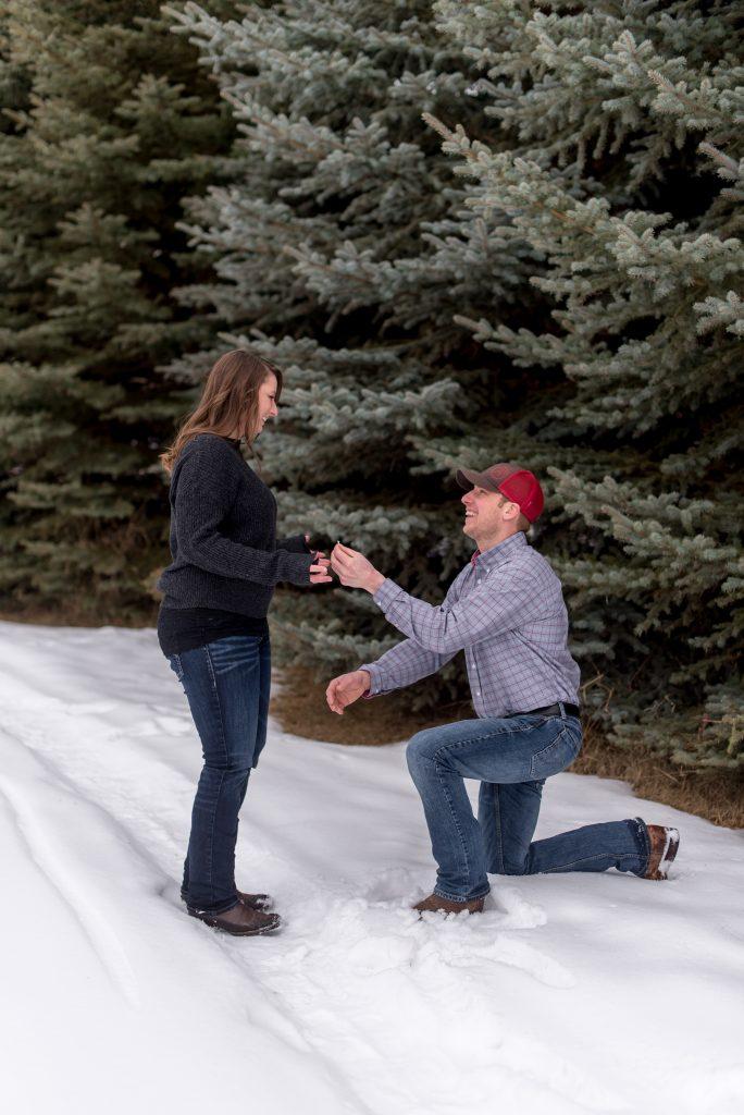 Winter proposal in rural Alberta