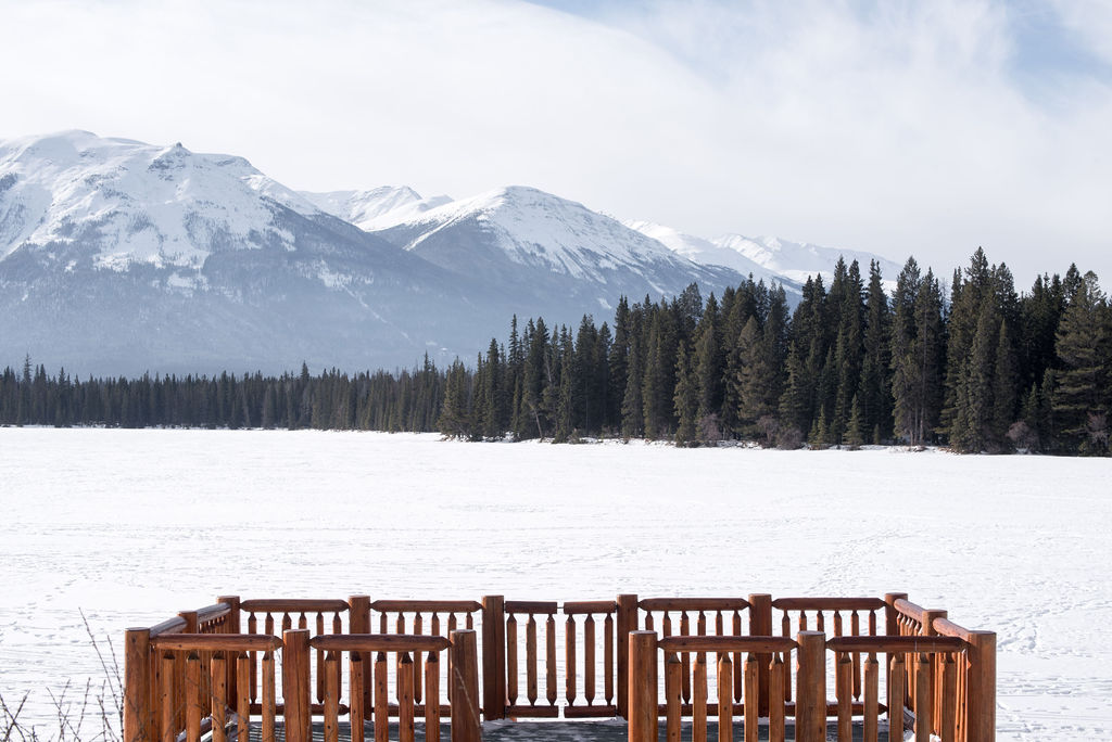 Observation and sun deck at the Fairmont Jasper Park Lodge on a winter morning in February