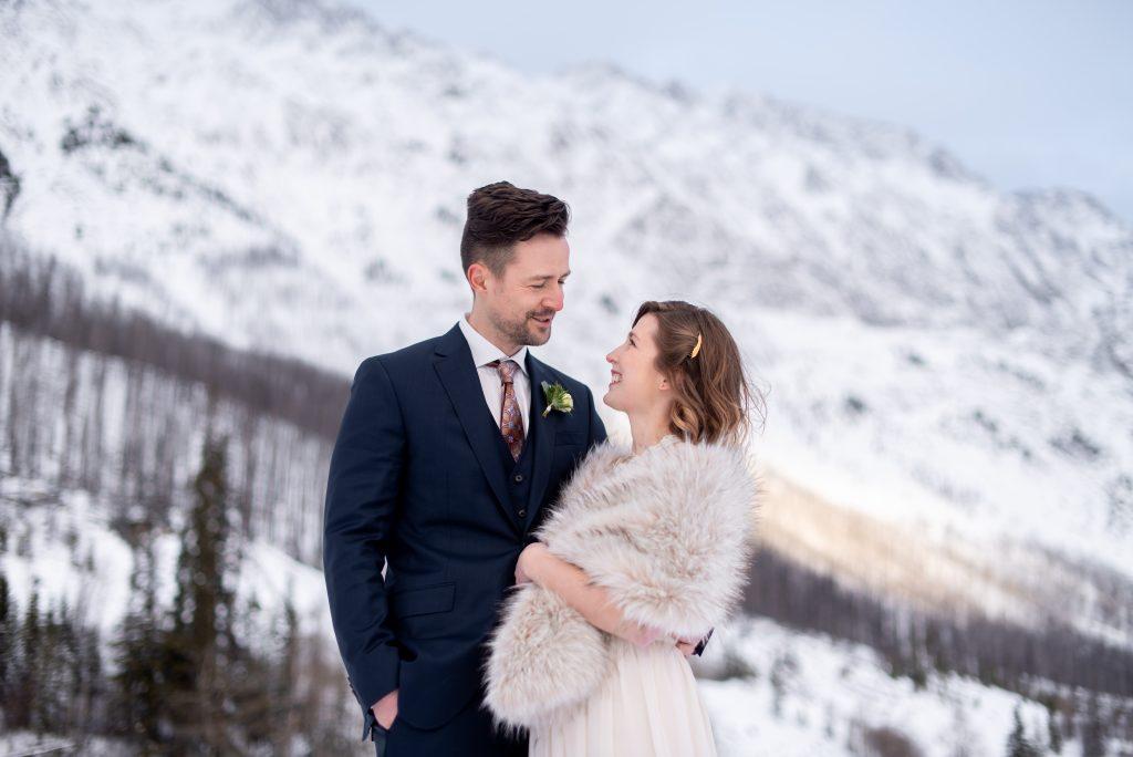 Romantic winter Jasper National Park elopement inspiration from Medicine Lake