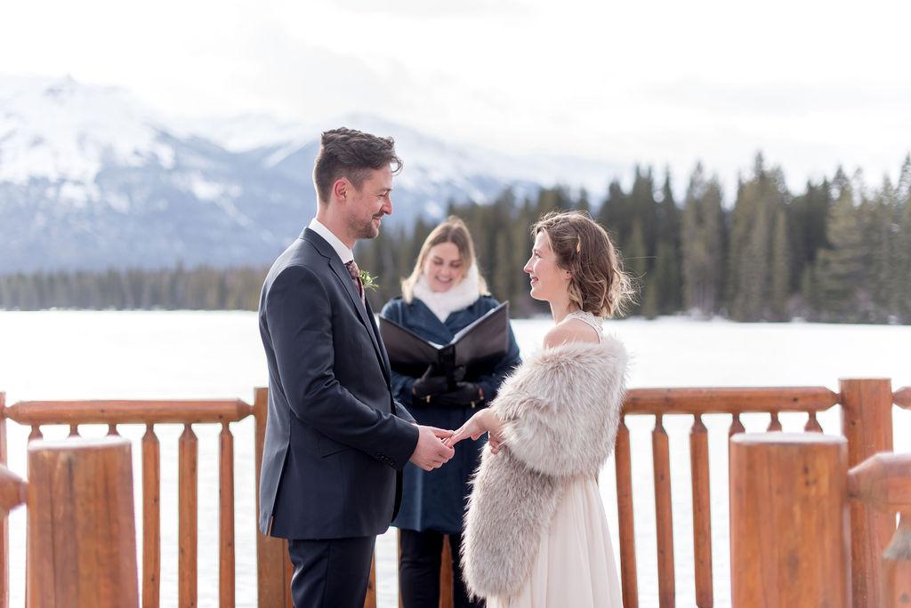 Intimate winter elopement at the Fairmont Jasper Park Lodge in Jasper National Park