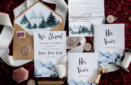Mountain and elopement themed wedding stationery for a Jasper National Park elopement