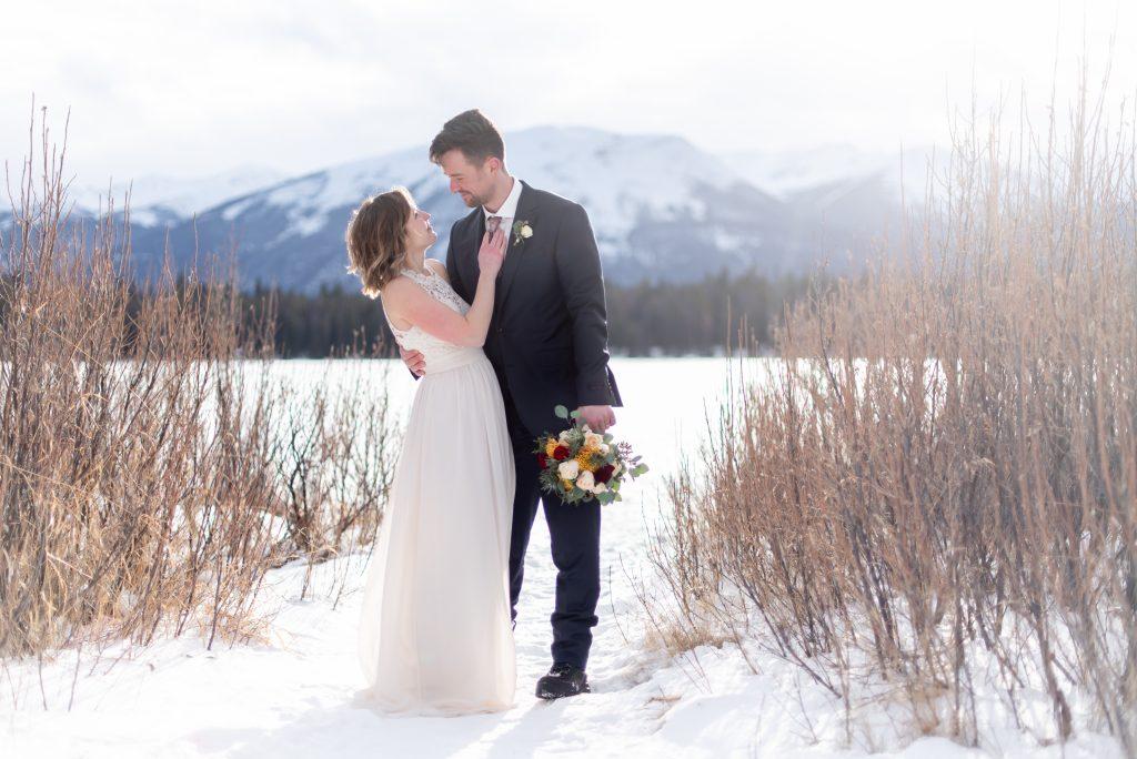 Jasper National Park Elopement inspiration from the shoreline of Lake Annette for this winter mountain wedding