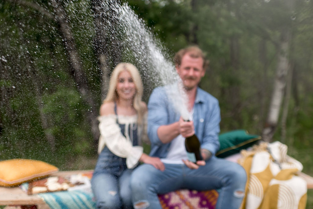 Champagne engagement photos