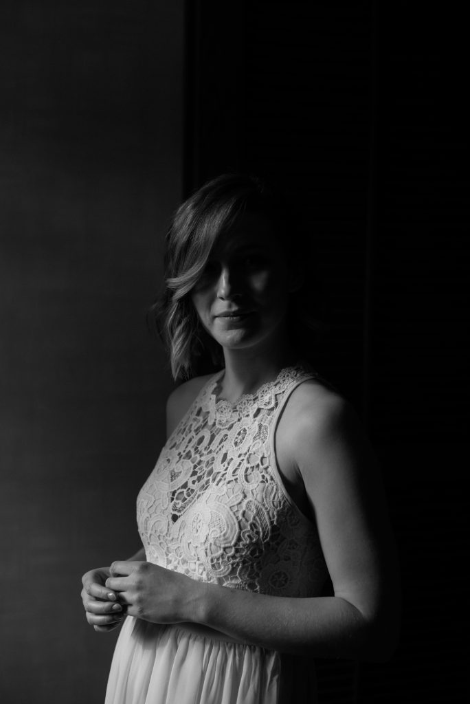 Moody black and white bridal portraits of a bride on the morning of her Jasper National Park Elopement