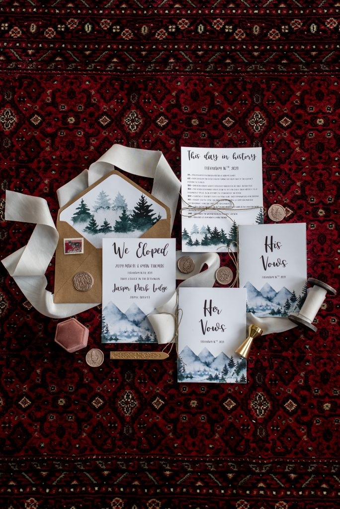 Elopement and mountain themed wedding stationery for a mountain elopement in Jasper National Park