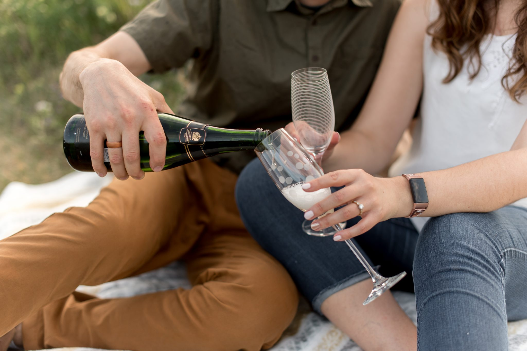 Edmonton Picnic Engagement Session with Champagne
